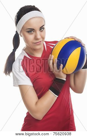 Portrait Of Female Volleyball Player Equipped In Professional Sport Outfit