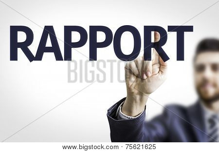 Business man pointing to transparent board with text: Rapport