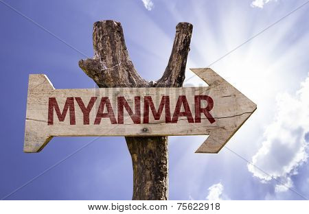 Myanmar wooden sign on a beautiful day
