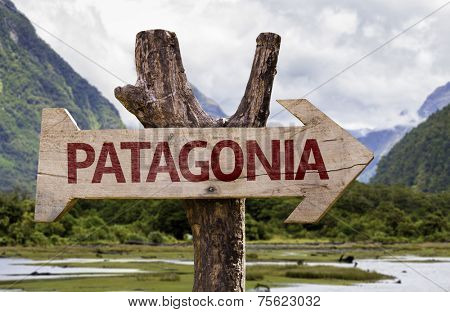 Patagonia wooden sign with landscape background
