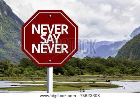 Never Say Never written on red road sign with landscape background
