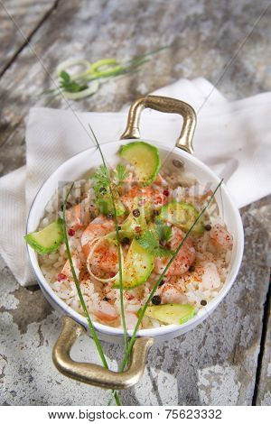 Rice With Shrimp And Zucchini