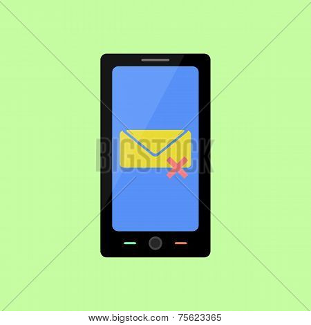 Flat style smart phone with deleted message