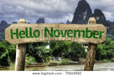 Hello November wooden sign with a forest background