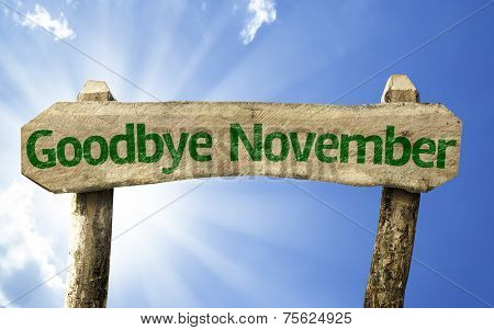 Goodbye November wooden sign on a beautiful day