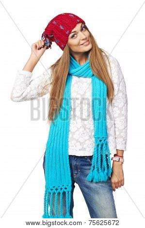 Happy woman in winter clothing