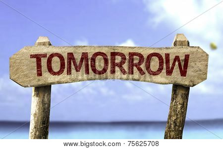 Tomorrow sign with a beach on background
