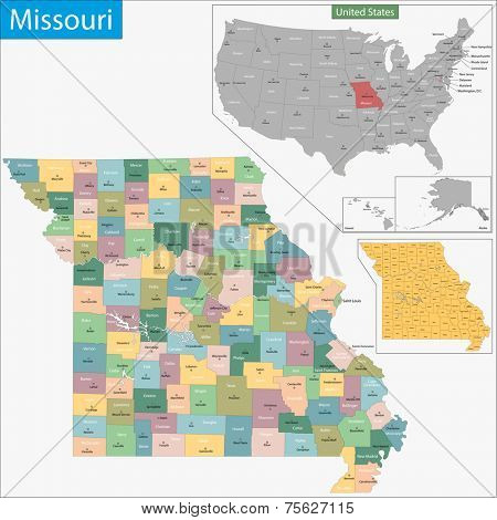 Map of Missouri state designed in illustration with the counties and the county seats
