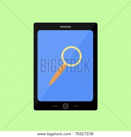 Flat style touch pad with magnifying glass