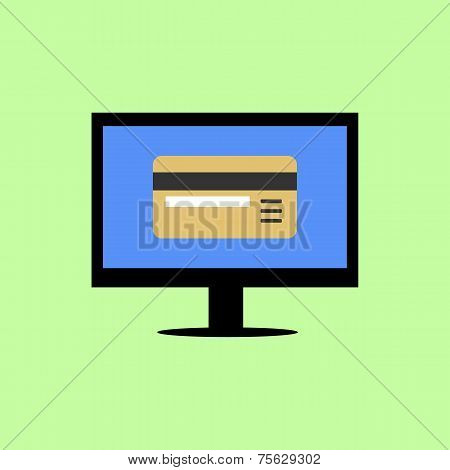 Flat style computer with bank card
