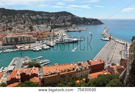 NICE, FRANCE - JULY 16 2014 - Aerial View on Port of Nice and Luxury Yachts, French Riviera, France.Cote d'Azur