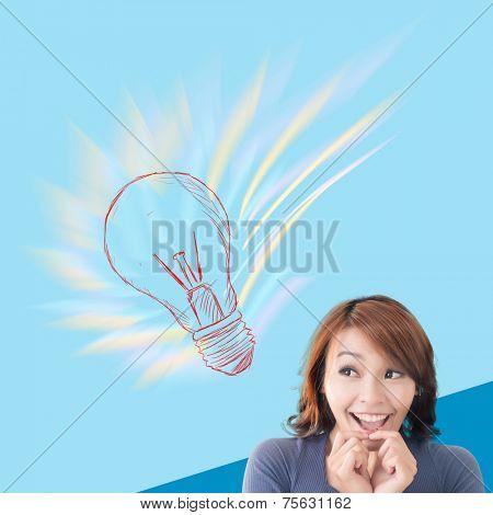 Surprised Asian woman with crazy idea. Concept of creativity, idea, inspiration etc.
