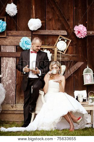 Bride and groom, vintage style wedding
