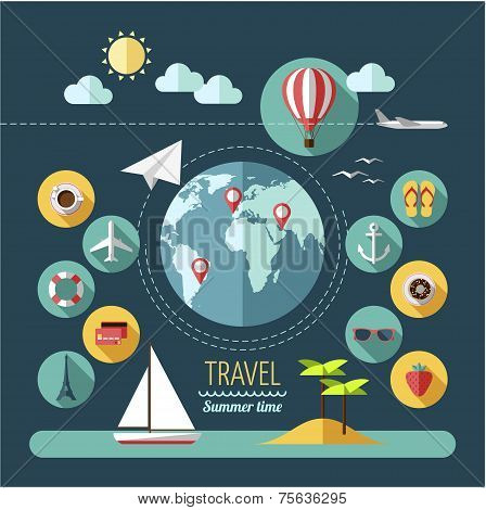 Flat design style modern vector illustration icons set of planning a summer vacation.