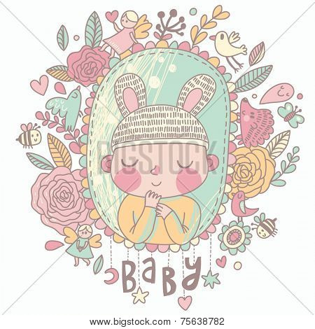 Newborn baby card in pastel colors. Stylish shower card with baby boy, flowers, hearts, angel, birds, bees and other holiday elements. Cartoon vector background