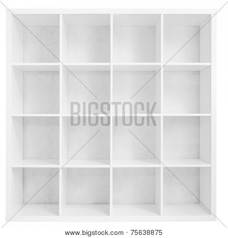 Empty bookshelf or store rack isolated