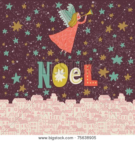 Angel in the sky. Vintage Christmas card in pink colors in vector. Stylish concept holiday background