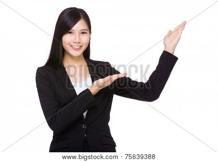 Businesswoman with two open hand palm