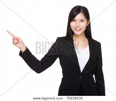 Business woman with finger point up