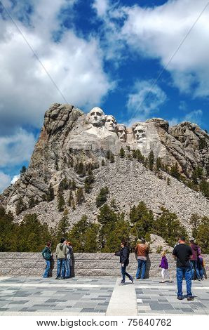 Mount Rushmore Monument With Tourists Near Keystone, Sd