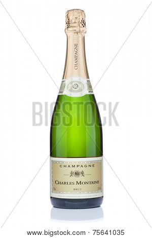 Tallinn. Estonia - October 29, 2014: Bottle of champagne Charles Motaine, isolated on the white background. Champagne Charles Montaine is one of the exqusite brands of French champagne wines.