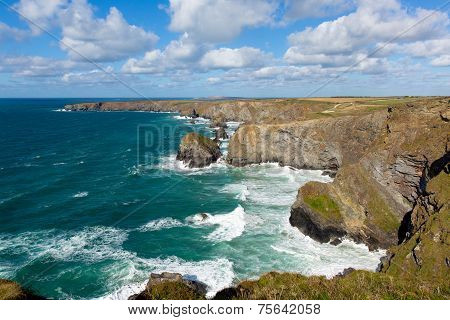 Bedruthan Steps North Cornwall England UK Cornish coast near Newquay