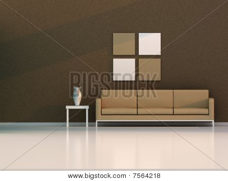 architecture, 3d modern room, brown living room