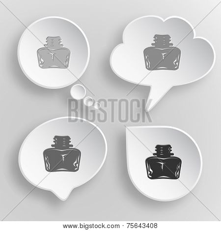 Inkstand. White flat vector buttons on gray background.
