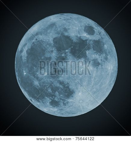 Blue Full moon isolated on a black sky