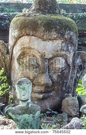 Head Shot Of Buddha Statue, Thailand.