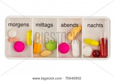 tablet dispenser, symbol photo for therapy, prescription and dosage