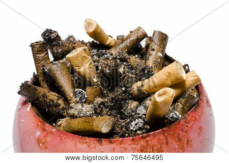 Old cigarette butts in ashtray