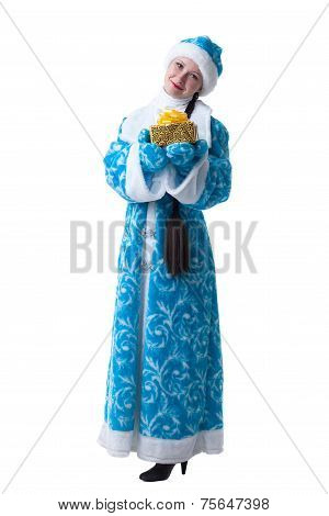 Charming young girl posing in suit of Snow Maiden