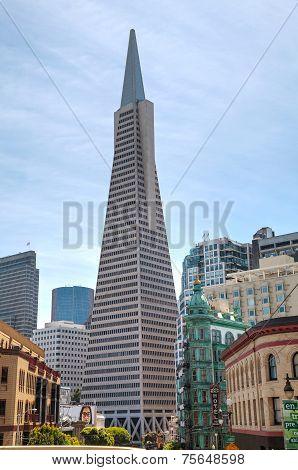 The Transamerica Pyramid Skyscraper In San Francisco