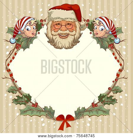 The head of Santa Claus and gnome. Template cards for Christmas