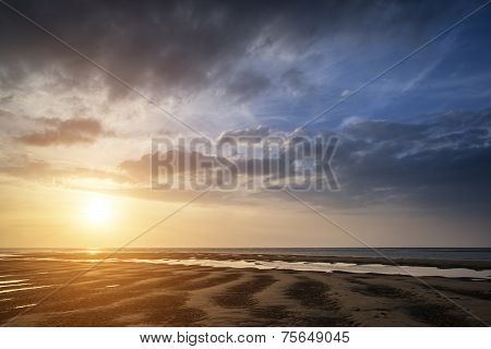 Beautiful Vibrant Summer Sunset Over Golden Beach Landscape