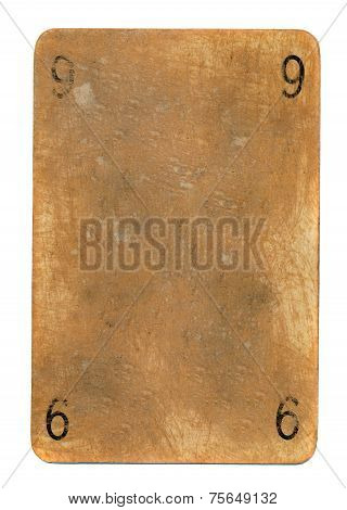 Ancient Playing Card Paper Background With Numbers Nine