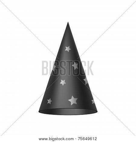 Black sorcerer hat with silver stars
