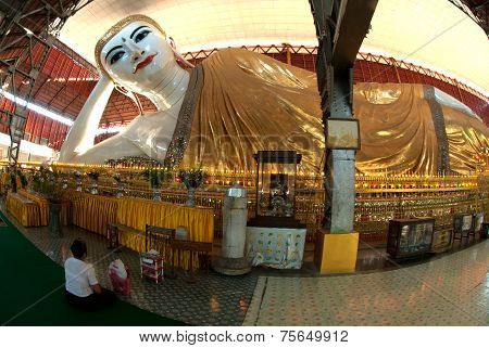 White Reclining Buddha In Myanmar.