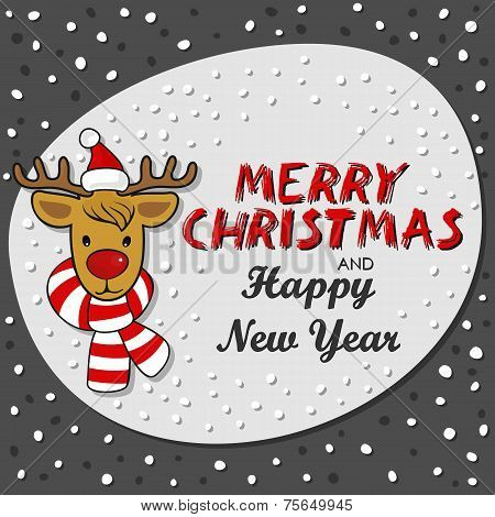 Red nose reindeer in Santa Claus hat dark Christmas card wiht wishes