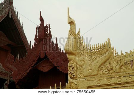 Wood Art Roof In Mandalay Palace, Myanmar.