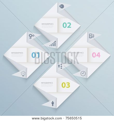 Infographic Template With Origami Paper Squares