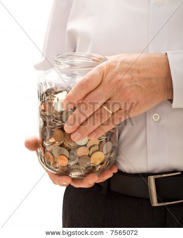 Senior Man Hands Holding Jar With Coins