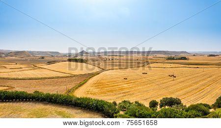 Panoramic View From Su Nuarxi Nuraghe In Sardinia