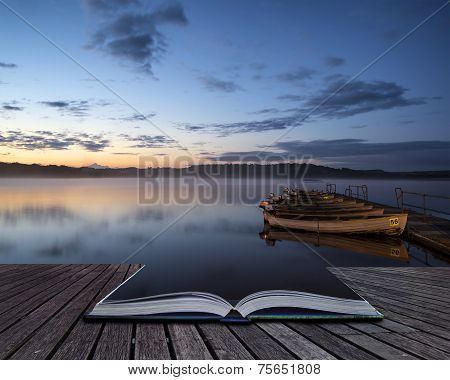 Beautiful Landscape Sunrise Over Still Lake With Boats On Jetty Conceptual Book Image