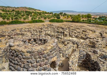 View At The Ruins From Su Nuraxi Nuraghe Near Barumini In Sardinia