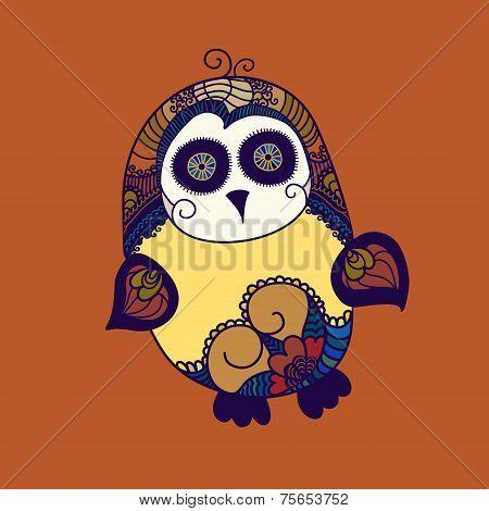 Cute Doodle Monster. Vector Illustration. Vector Doodle Monster Look Like Owl. Hand Drawn Design.