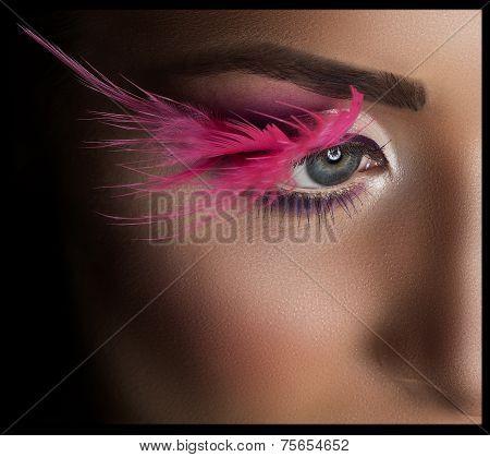 Professional Makeup. False Eyelashes.