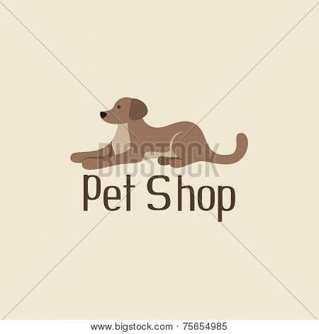 Cute pet shop logo with dog