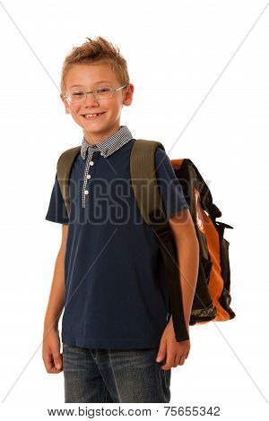 school boy with schoolbag and glasses isolated over white background